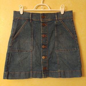 LOFT Button Front Denim Skirt